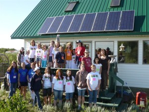 Girls from a Science Camp check out my solar home